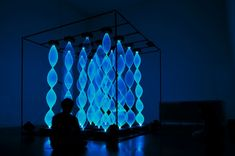 Repitition At My Distance - Dancing Patterns of Blue Light React to Sound Waves - by Gabey Tjon a Tham