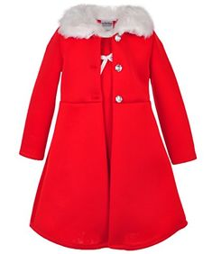 Toddler and Little Girls Bonnie Jean Girls Holiday Christmas Dress and Coat Set for Baby