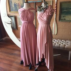 Two toned, Mismatched Bridesmaids in shades of pink~ Southern Blush TULIP HEM Long Octopus Infinity Dresses by Coralie Beatrix