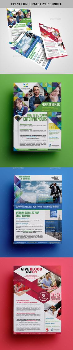 Event Corporate Flyer Bundle Templates PSD #design Download: http://graphicriver.net/item/event-corporate-flyer-bundle/13058039?ref=ksioks