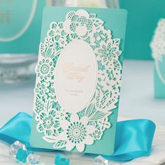 inexpensive tiffany blue laser cut lace wedding invitations EWWS005 as low as $1.99