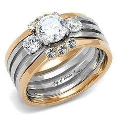 A Perfect 14K Rose Gold Platinum 1.3CT Round Cut Bridal Set Wedding Bands Ring