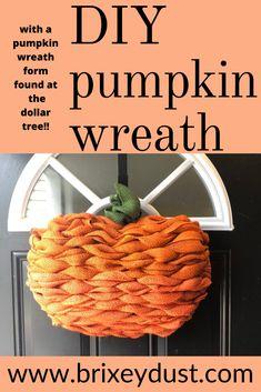 Dollar Tree Pumpkins, Burlap Pumpkins, Dollar Tree Fall, Dollar Tree Crafts, Dollar Tree Store, Fall Pumpkins, Pumpkin Mesh Wreaths, Deco Mesh Pumpkin, Pumpkin Burlap Wreath Diy