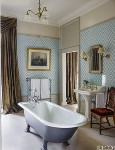 Historic English Estate Bathroom - ELLEDecor.com