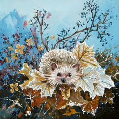 Everyone loves a hedgehog! This one on a bed of frosty leaves.