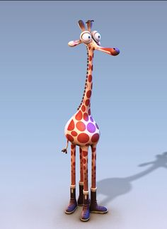 I made this model for a commercial project in Also I won golden award from total for this art work. 3d Character, Character Design, Cartoon Giraffe, Small Sculptures, Toy Craft, Whimsical Art, Cartoon Styles, Rock Art, Cartoon Characters