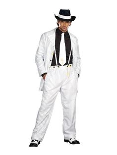 White Pinstriped Gangster Zoot Suit Costume Adult