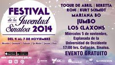 Festival de la Juventud Sinaloa 2014, cartelera Miércoles 5 de noviembre de 2014. Sede: Culiacán, Sinaloa.