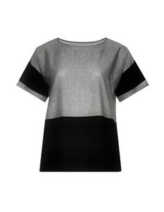 Material mix blouse with cotton and line in Grey / Black designed by Isolde Roth to find in Category Blouses at navabi.de