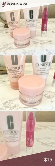 Clinique Makeup Skincare Set Set includes Clinique Moisture Surge overnight mask 1fl oz. Rinse off foaming Cleanser 1 fl oz. Moisture Surge Extended thirst relief 0.5 oz. Chubby Stick moisturizing Lip colour balm in the color Woppin Watermelon. NEVER USED All Travel size Other