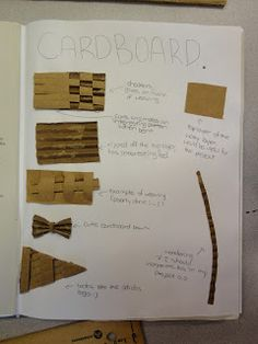 I have a class that is a mix of ages and technical ability and we started off this year with a cardboard sculpture project. Sculpture Lessons, Sculpture Projects, Sculpture Art, Sculpture Ideas, Cardboard Sculpture, Cardboard Art, Handout, Sensory Art, Middle School Art