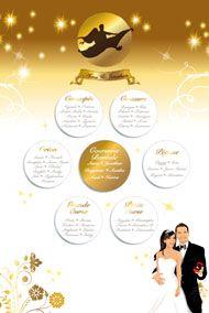 Plan de tables de mariage oriental 1001 nuits aladin - wedding placement seating board