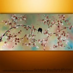 Abstract Landscape Tree Birds Painting Textured Modern Art by Gabriela 48x24