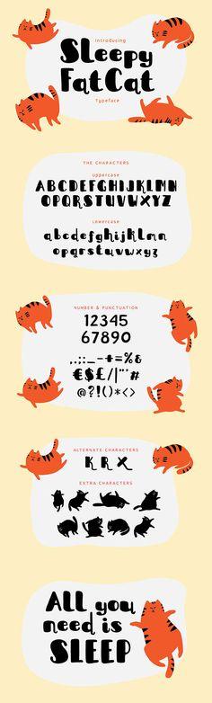 #Sleepy Fat Cat #Typeface - Comic #Decorative Download here: https://graphicriver.net/item/sleepy-fat-cat-typeface/17975163?ref=alena994