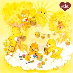 Care Bears and Care Bear Cousins: Playful Heart Monkey, Treat Heart Pig, Birthday Bear, Funshine Bear and Tenderheart Bear in bright yellow sunshine