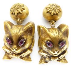 Image of Vintage Joseff Of Hollywood Cat Gold Tone Clip On Earrings
