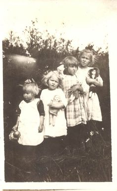 MY DOLLY & ME~ four little girls and their dolls, circa 1920's.