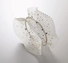Bracelet - sowonjoo studio knit wire and raw diamond bracelet Cheap Jewelry, Wire Jewelry, Jewelry Art, Jewelry Design, Paper Jewelry, Contemporary Jewellery, Modern Jewelry, Custom Jewelry, Textiles