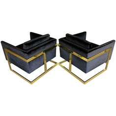 Pair of brass and velvet ' Cube ' chairs by Milo Baughman