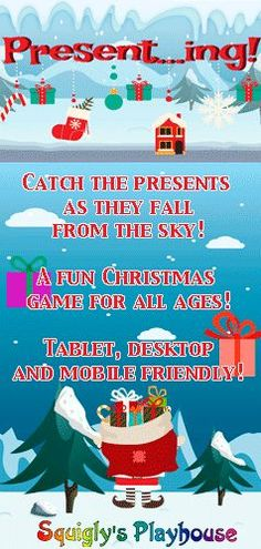 A fun Christmas game for kids and adults alike. Catch the presents as they fall of out of the sky. This game is desktop, tablet and mobile friendly! Action Games For Kids, Games For Kids Classroom, Christmas Activities For Kids, Christmas Fun, Learning Stations, Movement Activities, Presents, Desktop, Sky