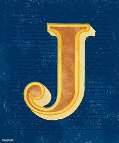 Letter J, Vintage Typography, Free Illustrations, Free Image, Text Messages, Blue Backgrounds, Vector Free, Outfit, Outdoor Decor