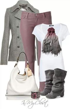 mauve pants, white top, gray sweater, scarf