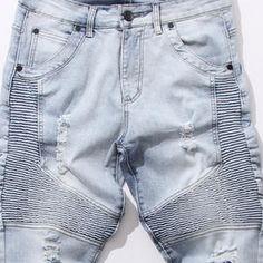 Distressed Skinny Biker Jeans | Stonewash Blue - STARTED
