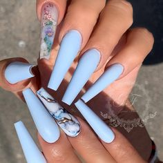 Hot Acrylic Coffin Nails Trend Ideas In 2019 – Page 33 of 73 - Summer Acrylic Nails Blue Acrylic Nails, Coffin Nails Matte, Summer Acrylic Nails, Acrylic Nail Designs, Summer Nails, Stiletto Nails, Dope Nail Designs, Fruit Nail Designs, Blue Nail