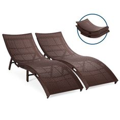 Best Choice Products Set of 2 Patio All-Weather Folding Wicker Chaise Lounge Chairs w/Handles, No Assembly Required Patio Lounge Chairs, Outdoor Chairs, Outdoor Loungers, Patio Furniture For Sale, Outdoor Furniture, Weathered Furniture, Wicker, Rattan, Gazebo
