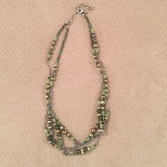 Silpada Necklace - discounted Multi strand green pearl, aventurine, sterling silver and Jade bead necklace with lobster class. Silpada Jewelry Necklaces