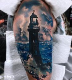 Blue dominates on this tattoo and it can not be wrong if you decide to tattoo a symbol of the sea like a lighthouse.