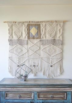 Macrame wall hanging with natural cotton rope jute and wool