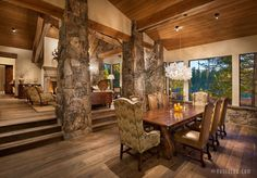 Incredibly rustic and inviting timberframe home with rock accents
