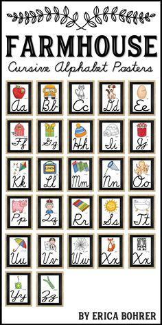 Farmhouse Style Cursive Alphabet