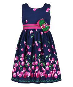 Another great find on #zulily! 14.99 Navy & Pink Cherry Stripe-Sash Bow Dress - Toddler & Girls #zulilyfinds