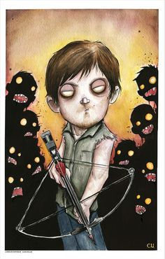 """by Christopher Uminga. Daryl Dixon """"cutified"""" looks like he just stepped into a Pon and Zi drawing to me..."""