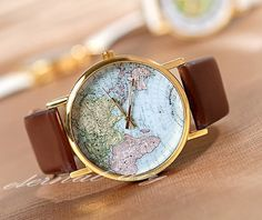 World Map Watch Unisex Watches Mens wristwatches by eternalDIY, $14.99