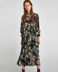PRINTED LONG FLOWING DRESS-Midi-DRESSES-WOMAN   ZARA United Kingdom