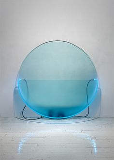 Keith Sonnier Lit Circle Blue with Etched Glass 1968