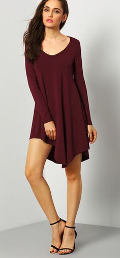 Burgundy Round Neck Casual Dress, 20% Off 1st Order!