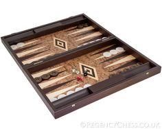 Manopoulos Luxury Walnut Burl Backgammon Set