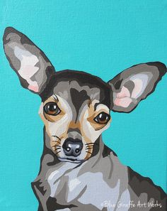 Painted Pet Portrait of a Chihuahua Dog on Canvas - Pet Gallery - Blue Giraffe Art Works- custom portraits from photographs
