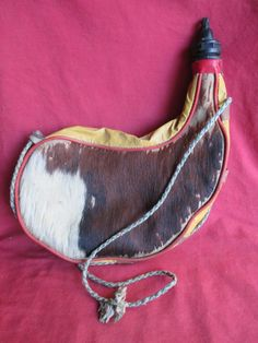 Bota, Water or Wine Carrier, Vintage, Hair on Cowhide, 60's Hippie Retro Beverage Container Mid-Century