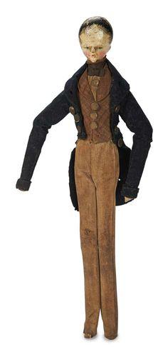 "Grodnertal Wooden Gentleman in Original Costume  10"" (25 cm.) Grodnertal,circa 1820,the doll is shown in Ackerman's Dolls in Miniature,page 33,"