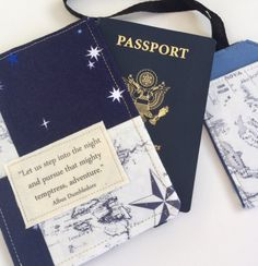 Passport cover, wallet style, featuring a beautiful quote from Albus Dumbledore Let us step into the night and pursue that flighty temptress, adventure. ** I have combined the quote with a map and sky patchwork combination. Features *Versatile design can hold 1 or two passports, either pocket style as in pics or book cover style if you only have one. *Cotton fabric embellished with a muslin patch featuring the quote. *Interfaced and lined for strength and durability *Small pocket inside to…