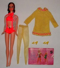 This is the very first Barbie doll I ever owned.  I would like to own her again.  Funny...I didn't remember her until I saw this picture and then the flood of her memory came back to meet me.  To me, she will always be the best Barbie ever!    Description:  1969 MATTEL TALKING BARBIE  DOLL w#1484 YELLOW MELLOW OUTFIT NICE!