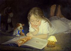 Kai Fine Art is an art website, shows painting and illustration works all over the world. Girl Reading Book, Kids Reading, Reading Books, Bedtime Reading, Reading Art, Woman Reading, Library Books, Renoir, Chez Laurette