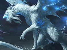 Space and astronomy lightning dragon, lightning farron, how to draw lightning, thunder and lightn Fantasy Monster, Monster Art, Ice Monster, Mythical Creatures Art, Magical Creatures, Dark Creatures, Dark Fantasy Art, Final Fantasy, Dark Art