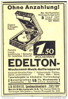 Original-Werbung/Anzeige 1929 - GRAMMOPHON EDELTON WOCHENEND- MUSIK- KOFFERAPPARAT /HEINRICH BERLIN ca. 70 x 100 m