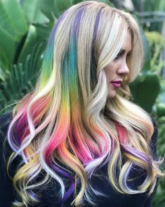 Most beautiful rainbow hair color on long blonde base hair, which will come into effect in # 201 . - Most beautiful rainbow hair color on long blonde base hair, which will come into play in # 20 - Hair Color Pink, Hair Dye Colors, Cool Hair Color, Blonde Color, Rainbow Hair Colors, Color Nails, Colorful Hair, Curly Hair Styles, Lange Blonde
